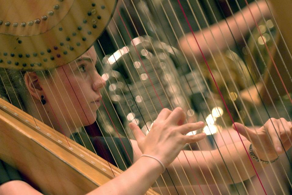 Ist noch das typische Orchesterbild: Eine Musikerin spielt Harfe. Das wird sich ändern, ebenso, dass Instrumente wie Horn und Kontrabass männergeprägt sind.