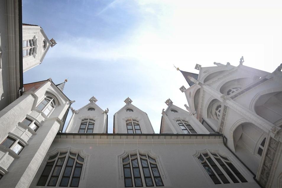Blick nach oben vor der Albrechtsburg