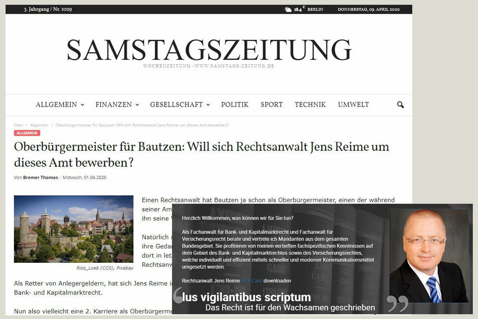 Will Rechtsanwalt Jens Reime bei der OB-Wahl in Bautzen kandidieren? Ein Beitrag in einem Online-Portal erweckt zumindest den Anschein.