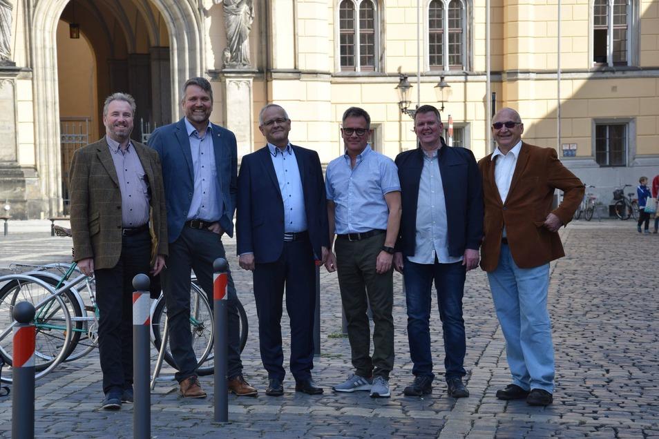 Die Kandidaten der FDP:Hans Grüner, Sven Ehrig, Christoph Schmidt, Jörg Gullus, Steffen Ridder, Dr. Peter Reinhold.
