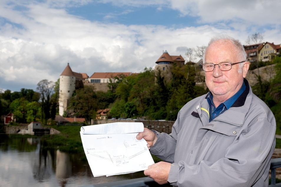 Ludwig Sachße aus Radibor hat sich schon vor vielen Jahren eine Idee für eine Brücke über die Spree in Bautzen ausgedacht. Ist sie die Lösung für das Problem mit dem Denkmalschutz?