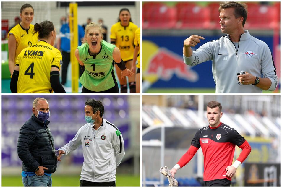 Die Protagonisten des Sport-Donnerstags: Linda Bock, Jesse Marsch, Aues Fußball-Verantwortliche und Tim Stawecki.