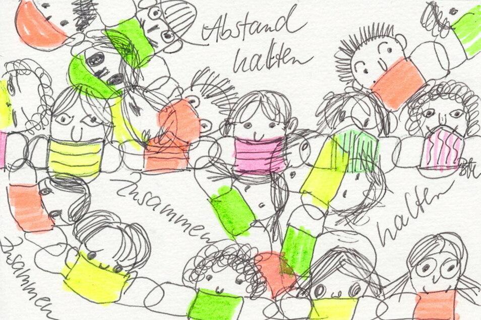 Die Zeichnung von Brita Müller (u. Mitte) ist ohne Titel.