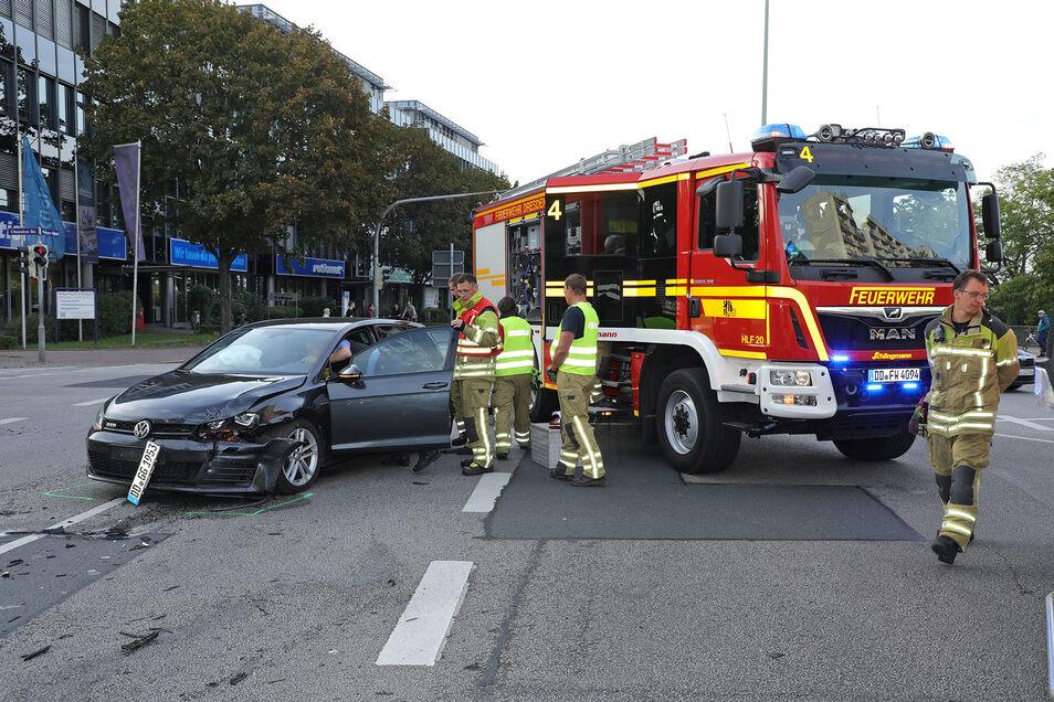 Die Unfall-Kreuzung an der Nürnberger Straße in Dresden.