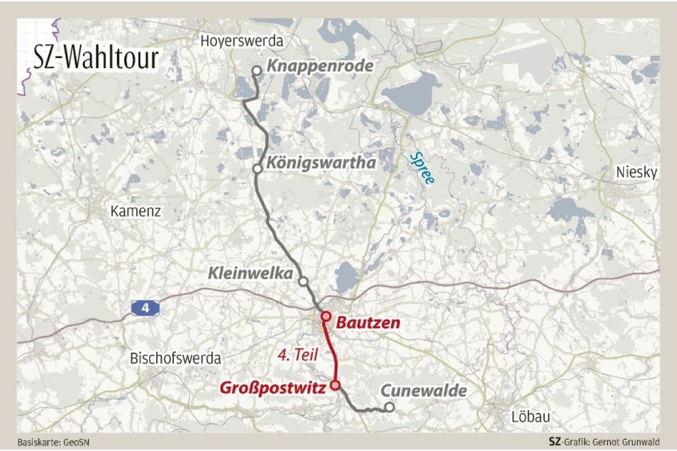 Am vierten Tag der SZ-Wahltour radelten die Reporterinnen nach Großpostwitz und erkundeten zu Fuß den Wald am Drohmberg.