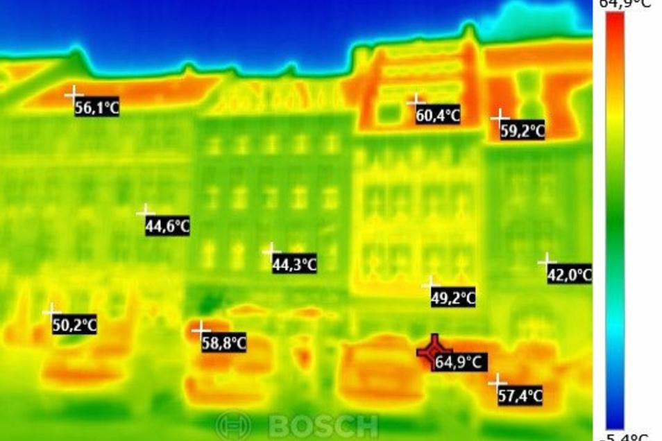 Auf großen Teilen des Obermarktes gibt es kaum Schatten. Der heißeste Punkt auf diesem Foto ist 64,9 Grad warm.