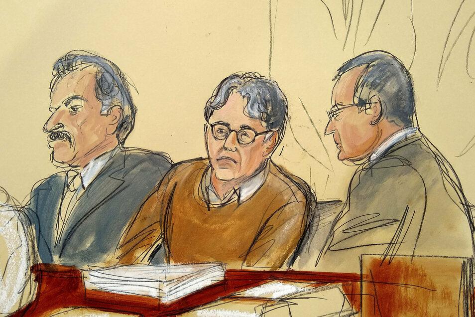 Diese Gerichtszeichnung zeigt den Angeklagten Keith Raniere (M) im Gerichtssaal. Der Gründer eines bizarren New Yorker Sex-Kults muss wohl den Rest seines Lebens hinter Gittern verbringen.