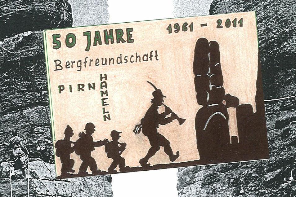 Der Hamelner Rattenfänger lockt Kletterer in den sächsischen Sandstein: Aufkleber zum 50-jährigen Bestehen der Bergfreundschaft 2011.