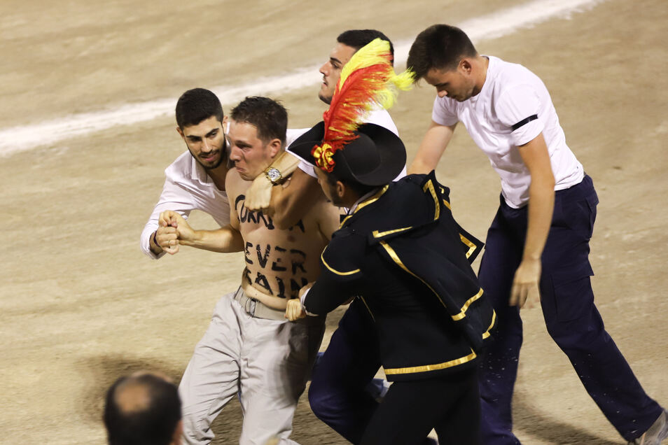 Ein Störer eines Stierkampfes wird in der Arena von Männern eingefangen.