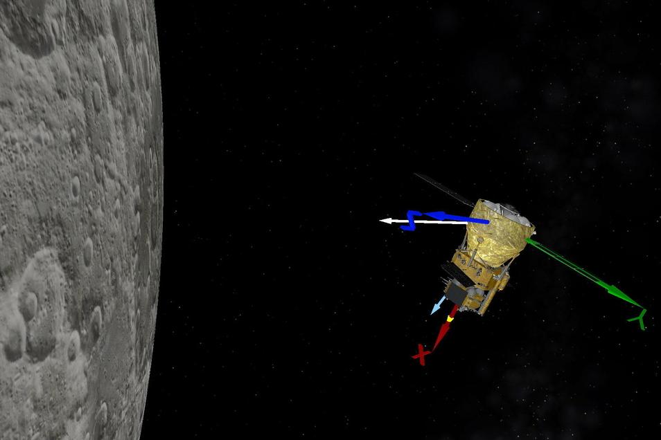 Auf der Animation der chinesischen Raumfahrtbehörde wird simuliert, wie die chinesische Sonde Chang'e-5 einen Bremsvorgang durchführt.
