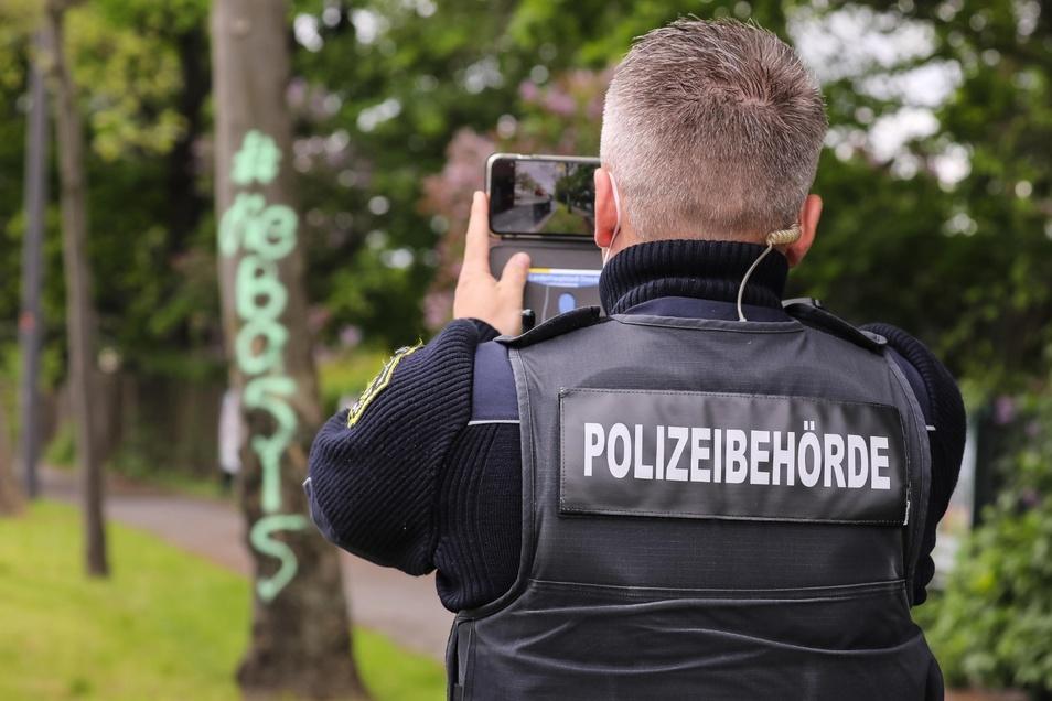 Das Dresdner Ordnungsamt hat am Dienstagmorgen die Graffiti an zahlreichen Bäumen dokumentiert.