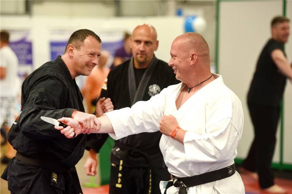 Mitgliedewr des Görlizer Vereins Hapkido präsentierten koreanische Selbstverteidigungstechniken.