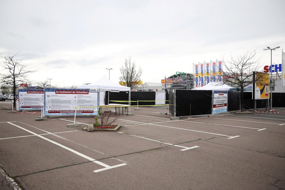 Alles ist vorbereitet: Diese Woche soll die neue Corona-Schnelltest-Station im Riesapark ihren Betrieb aufnehmen.