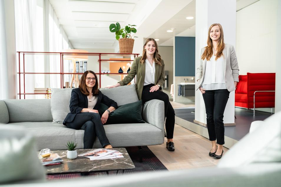 Das Raumgewinn-Team (v. l.: Yvonne Schreier, Isabel Brand und Patricia Hilbrich) freut sich auf Ihren Besuch.