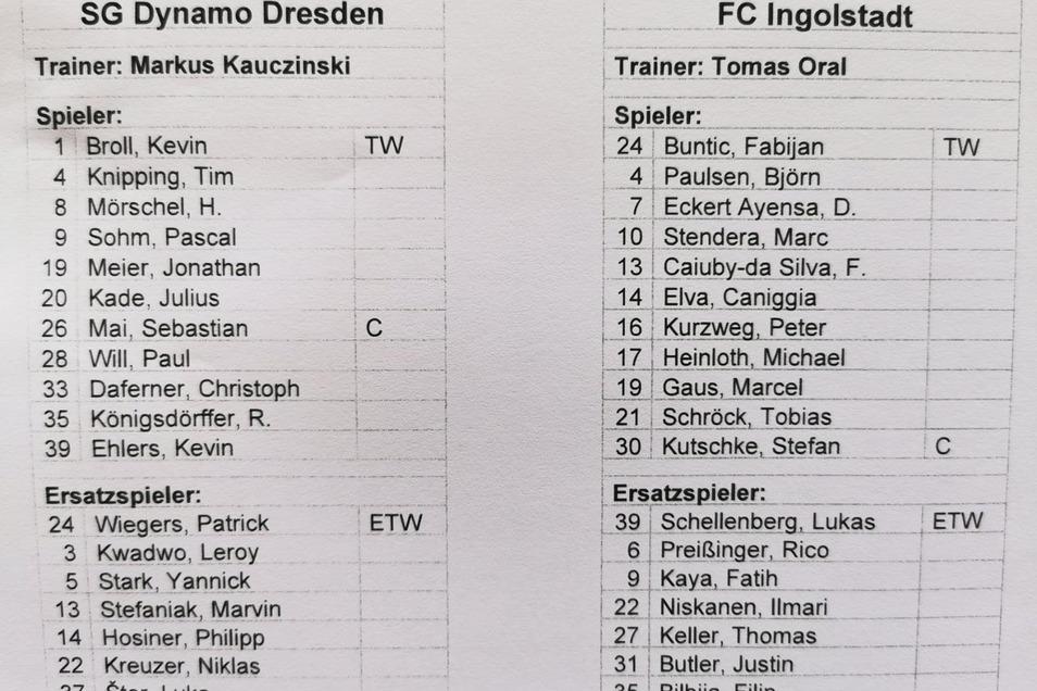 Die Kapitäne sind zurück: Bei Dynamo darf Sebastian Mai nach seiner Rotsperre erstmals wieder von Anfang an mitwirken. Bei Ingolstadt kehrt Stefan Kutschke nach muskulären Problemen zurück in die Startelf.