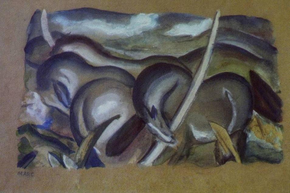 """Während einer Pressekonferenz der Staatsanwaltschaft Augsburg wurden einige der 1.500 gefundenen Werke gezeigt, die Zollfahnder in einem Münchner Apartment fanden. Unter anderem auch diese Gemälde: Eine Gouache von Franz Marc mit dem Titel """"Pferde in Landschaft"""", ..."""