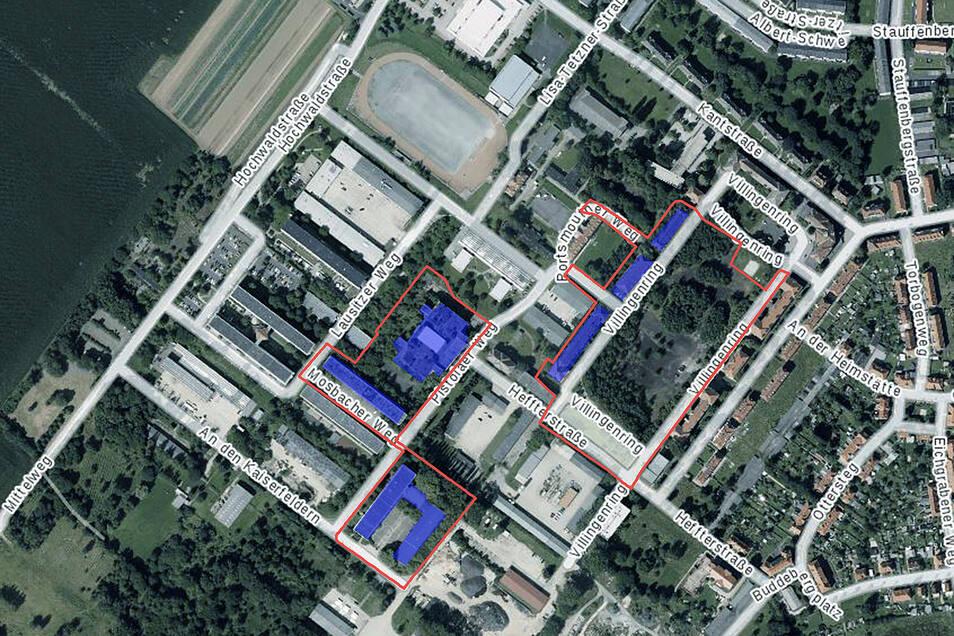 Das sind die derzeit vorgesehenen Abrissabschnitte 2 und 3:Blau markiert sind der Villingenring 4, 5, 6, der Pistoiaer Weg 2 und 5 sowie der Mosbacher Weg 2. Rot markiert sind die Flächen um die Gebäude, bei denen der Rückbau von  Leitungen oder Straßen