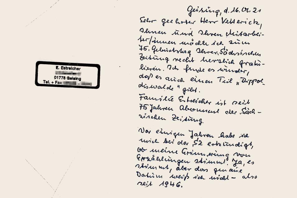 Diesen Brief hat Elisabeth Estreicher der SZ zum 75. Jubiläum geschrieben.