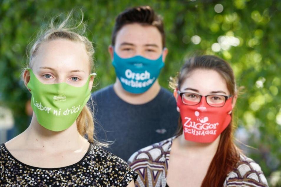 Masken mit sächsischen Sprüchen, zum selbst gestalten oder mit Firmenlogo.
