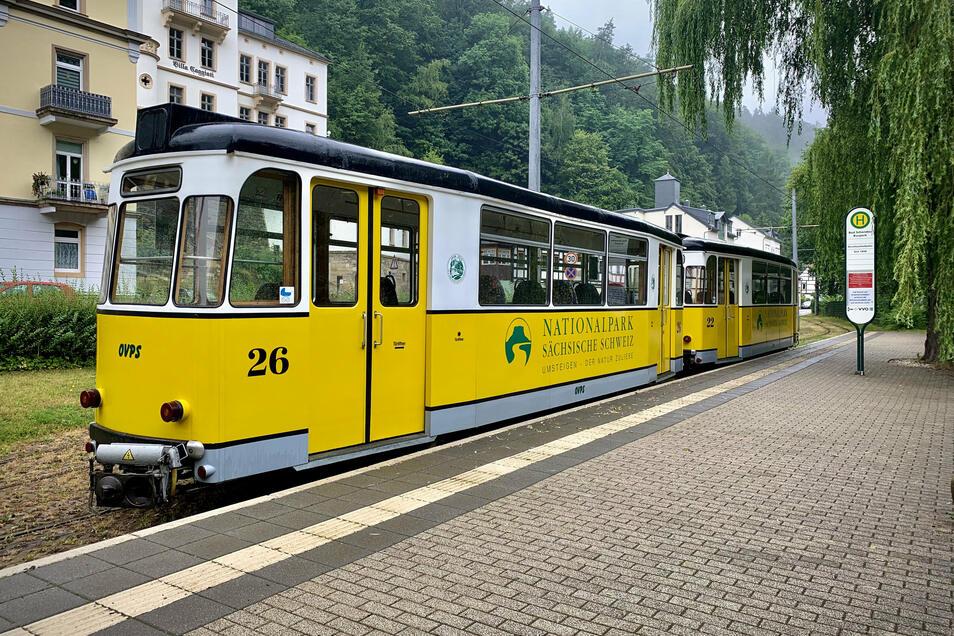 Wegen Reparaturarbeiten auf der Strecke fährt die Kirnitzschtalbahn nicht.