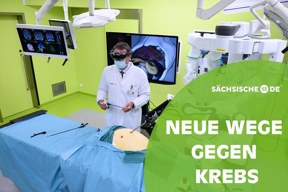 Jürgen Weitz, Direktor der Klinik für Viszeralchirurgie am Universitätsklinikum Carl Gustav Carus, steht in einem Experimental-OP-Saal im Neubau des Nationalen Centrums für Tumorerkrankungen Dresden (NCT/UCC).