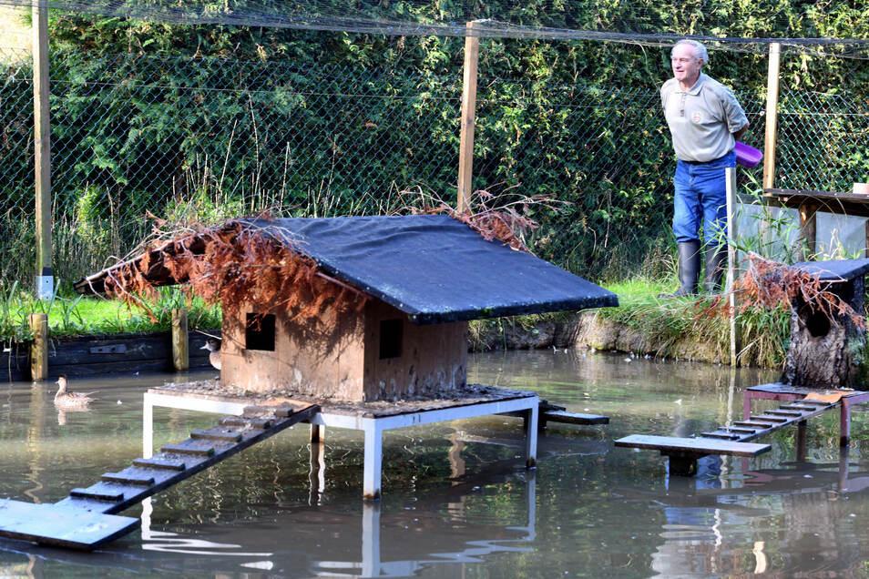 Geflügelzüchter Gerd Helle an einem seiner Teiche in Leutersdorf.