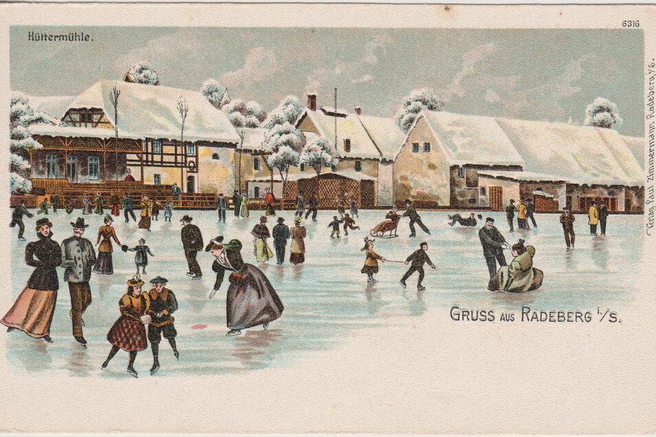 Der Fischteich vor der Hüttermühle wurde um das Jahr 1900 eifrig zum Schlittschuhlauf genutzt, wie diese historische Postkarte aus der Sammlung Schloss Klippenstein zeigt.