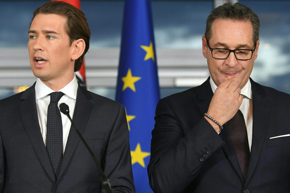Diese Regierung ist Geschichte: Kanzler Sebastian Kurz (l., ÖVP) und Vizekanzler Heinz-Christian Strache (FPÖ).