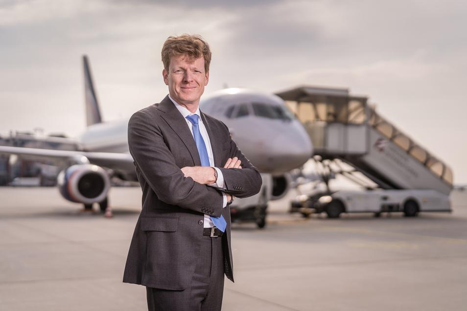 """""""Wir jagen keine Pokale, sondern wollen ein profitables Unternehmen mit guten Arbeitsplätzen sein"""", sagt Götz Ahmelmann. Der frühere Air-Berlin-Manager ist seit Herbst 2017 Vorstandschef der Mitteldeutschen Flughafen AG."""