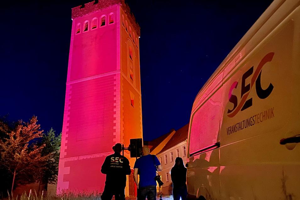 Night of Light am 22. Juni in Kamenz. Die SEC Veranstaltungstechnik ließ zum Beispiel den Roten Turm erstrahlen.