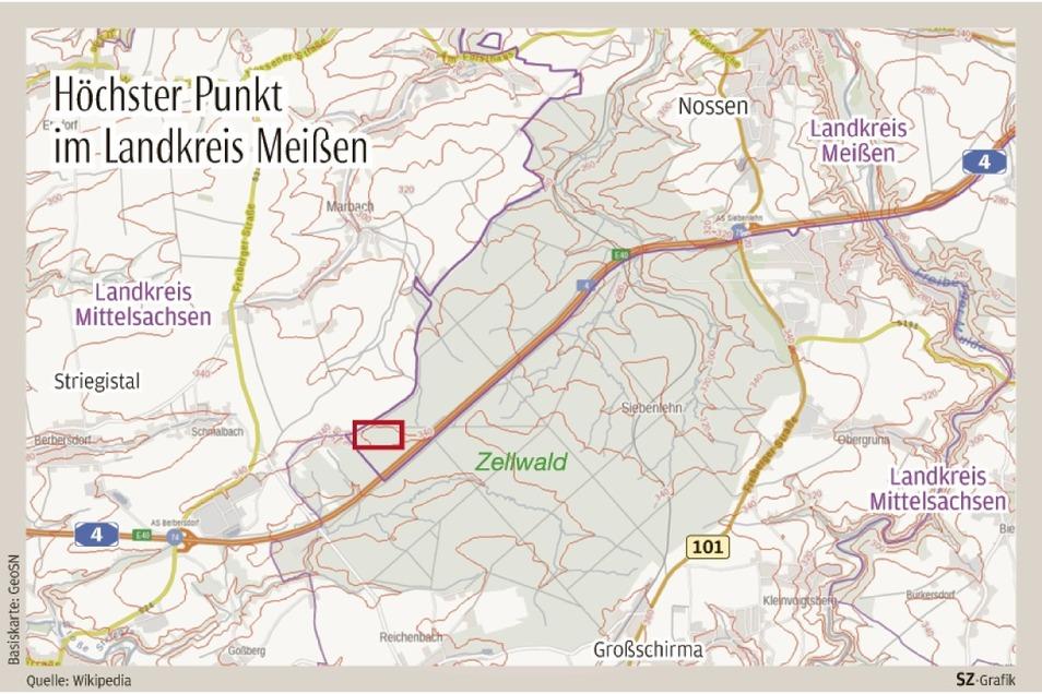 Die höchste Erhebung im Landkreis Meißen befindet sich in Nossen-Augustusberg, im Zellwald (rot markiertes Rechteck).