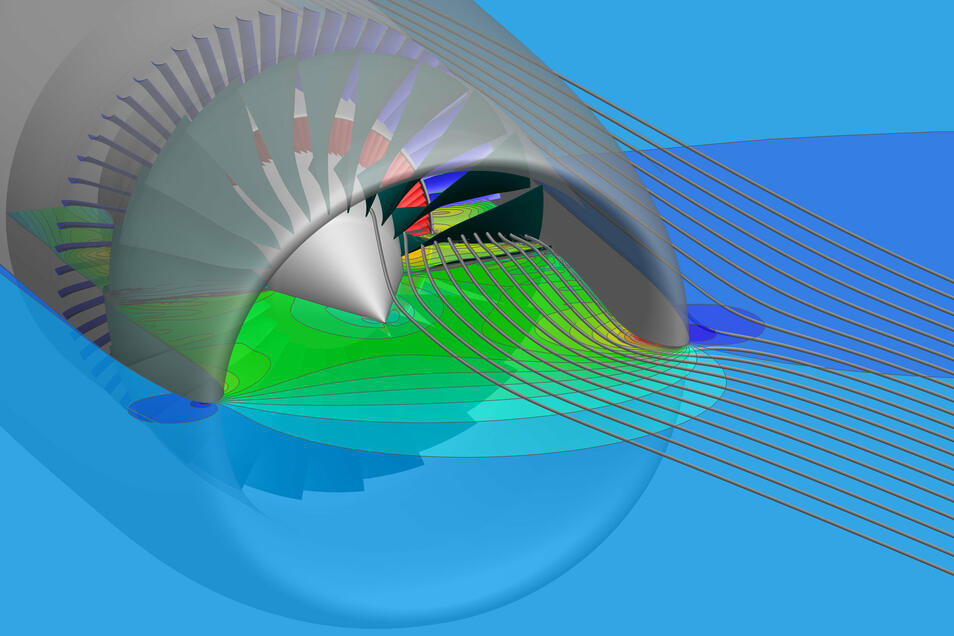 Die Luftströmungen in einer Turbine sichtbar gemacht, dafür sind Großrechner nötig