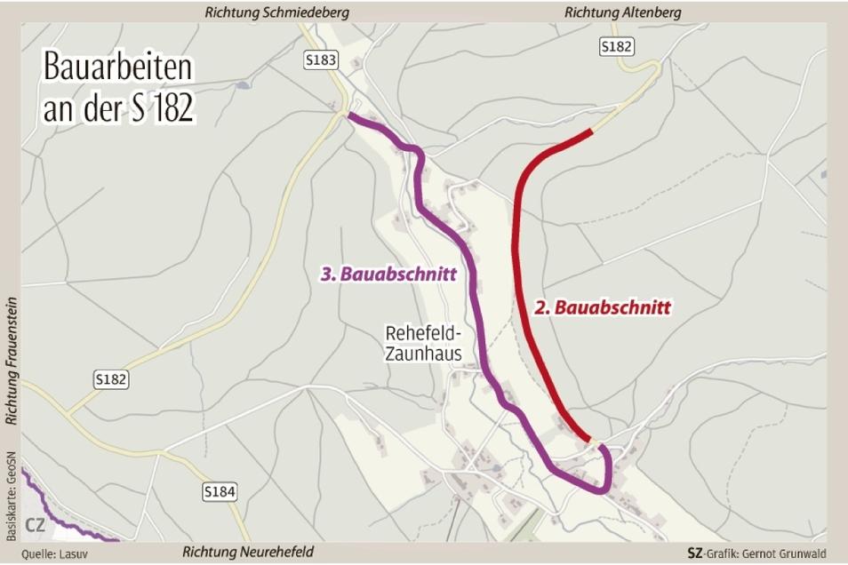 Der zweite Bauabschnitt war zwischen Milchflussweg und Ortseingang Rehefeld. Im dritten Bauabschnitt wird bis zum Abzweig der S 183 nach Seyde gebaut.