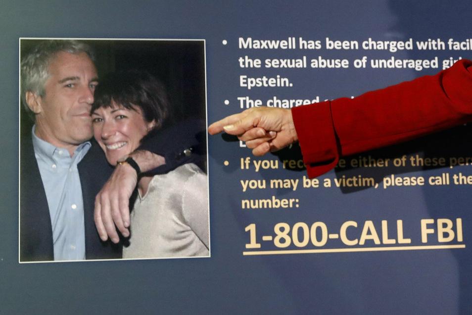 Ghislaine Maxwell (r), frühere Partnerin von Jeffrey Epstein (l), dem Sexualverbrechen vorgeworfen wurden und der sich dann im Gefängnis umbrachte, ist in den USA festgenommen worden.