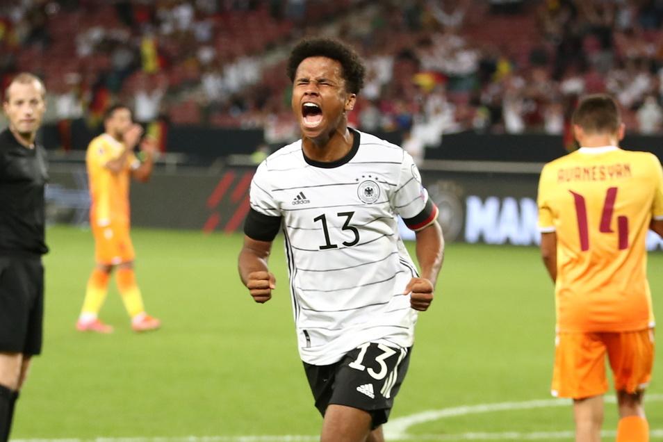 Der zweite Debütant unter dem neuen Bundestrainer: Karim Adeyemi. Der Stürmer von RB Salzburg traf kurz nach seiner Einwechslung zum Endstand.