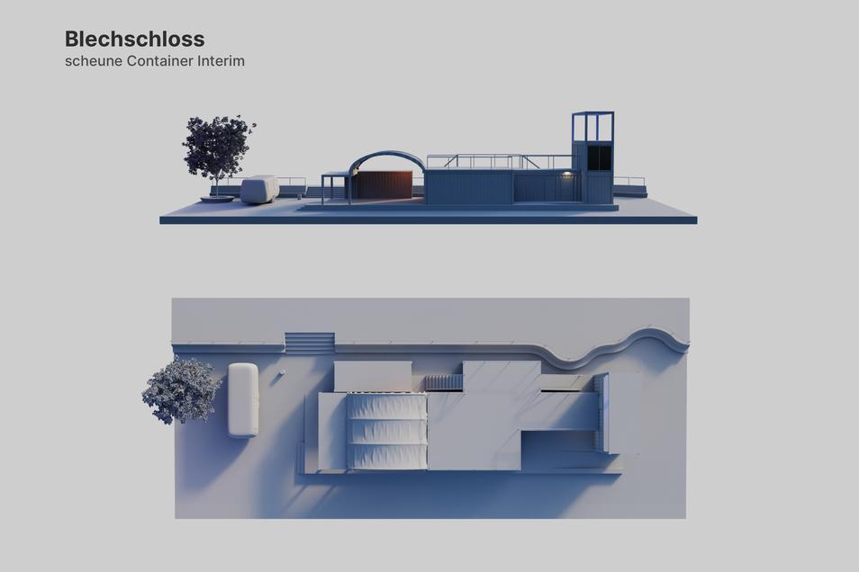 """So soll das """"Blechschloss"""" auf dem Scheunevorplatz von oben aussehen, sogar der Falafelwagen (links) ist mit einberechnet."""