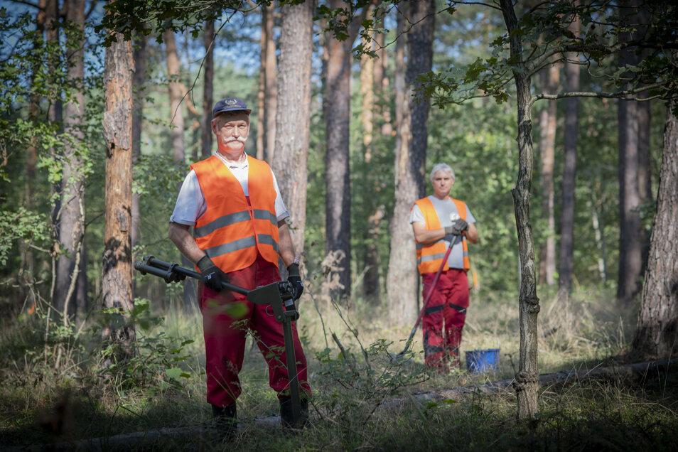Frank Härtwig und Steffen Maul haben einen gefährlichen Job: Sie suchen derzeit in der Königsbrücker Heide nach Munition.