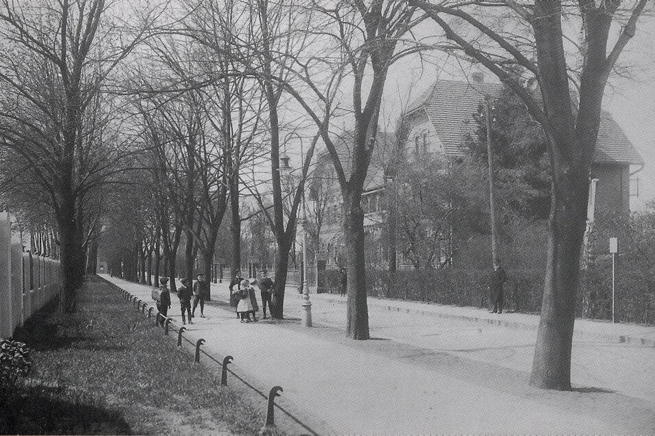 Blick in die Bahnhofsallee mit Reichsbahnambulatorium vor rund 100 Jahren.