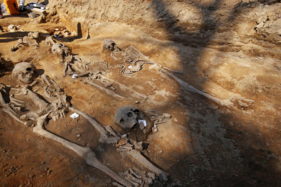Bis Ende Juni sind die Archäologen voraussichtlich noch am Rathausplatz aktiv. Bislang fanden sie dort mehr als 150 Skelette und mehrere Grüfte.