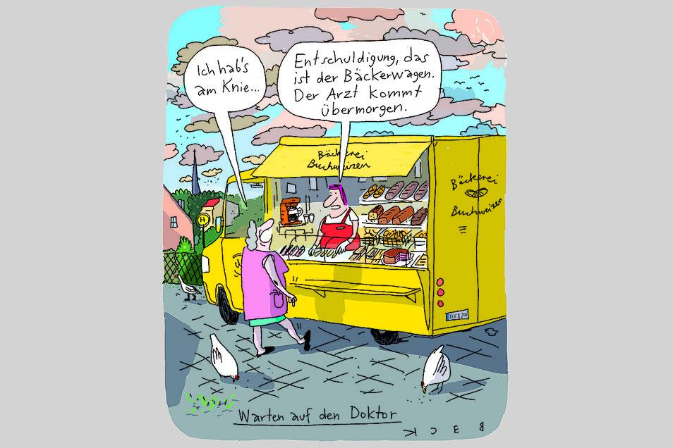 Die Siegerkarikatur des zum zweiten Mal vergebenen Heinrich-Zille-Karikaturenpreises der Stadt Radeburg. Gezeichnet hat sie der Leipziger Beck.