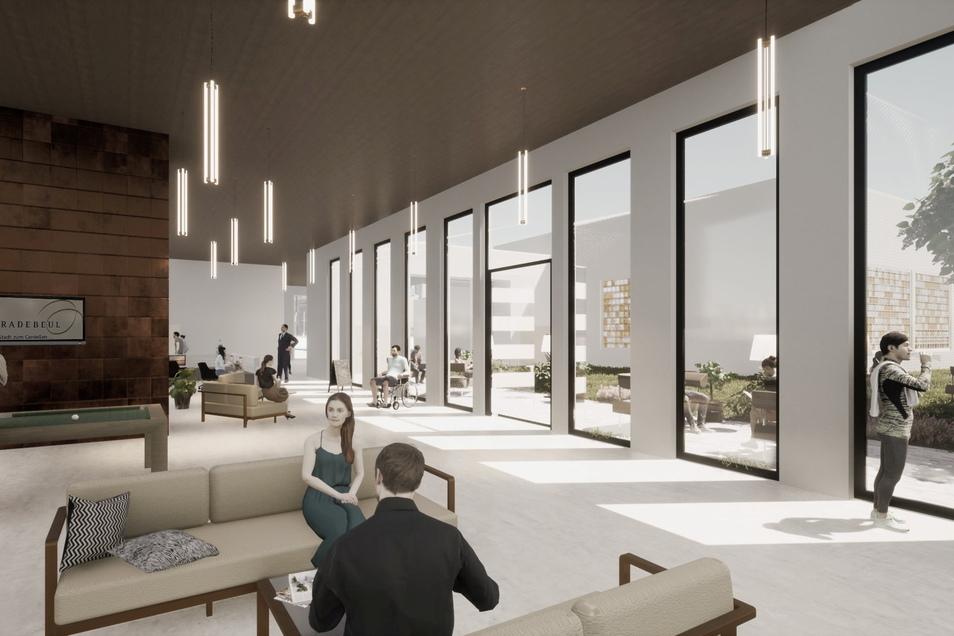 Der neue Empfangsbereich, gleich neben der Ostseite der Tennishalle angeordnet, soll künftig der Zugang für Schwimmhalle, Fitnessbereich, Gastronomie und Sauna sein.