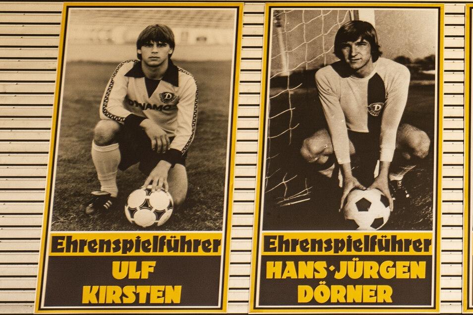 """In der Ehrengalerie im Stadion hängen ihre Bilder nebeneinander: Dynamos Rekordnationalspieler Ulf Kirsten (l.) und Hans-Jürgen """"Dixie"""" Dörner."""