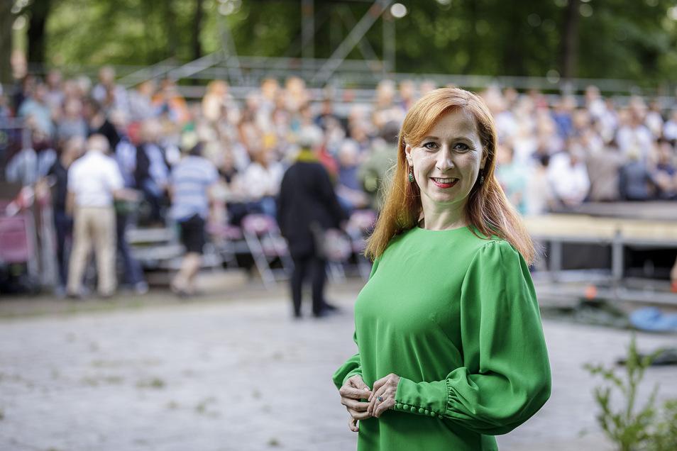 Ganz in grün: Franziska Schubert
