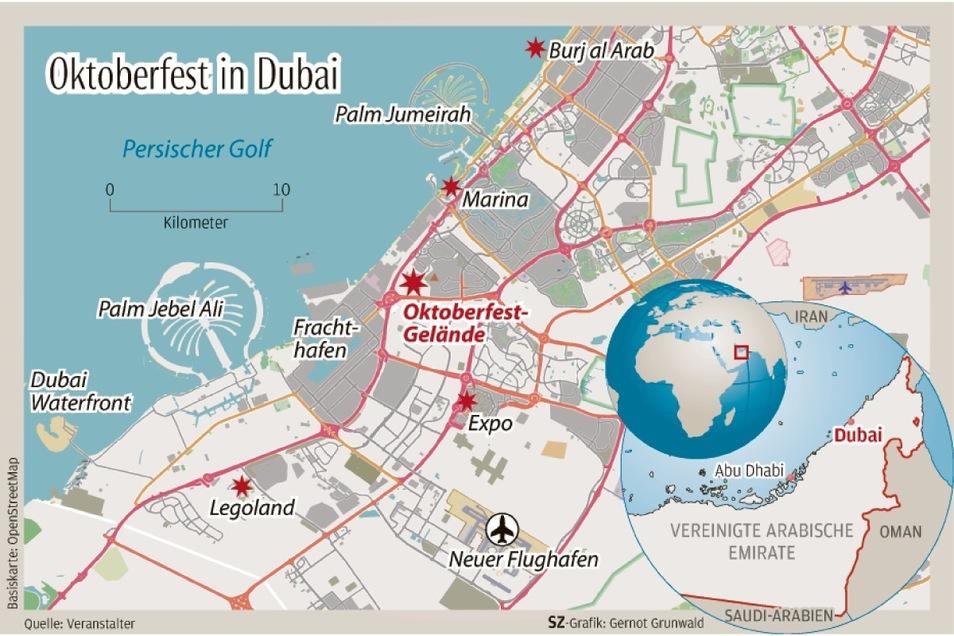 Oktoberfest goes Dubai: Das Feier-Areal von rund 350.000 Quadratmetern befindet sich im Herzen der Luxusstadt.