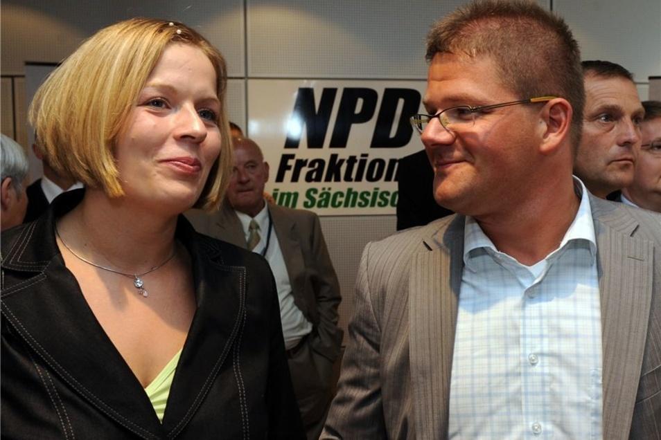 Holger Apfel und seine Frau Jasmin, hier bei der sächsischen Landtagswahl 2009, galten lange als das rechte Vorzeige-Paar. Nun gehen sie getrennte Wege.