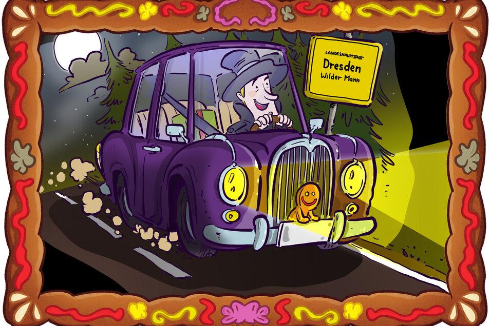 Detektiv Spätzle bringt den falschen Stollen zur Laboranalyse. Mit seinem Auto düst er direkt zu Experten des LKA.