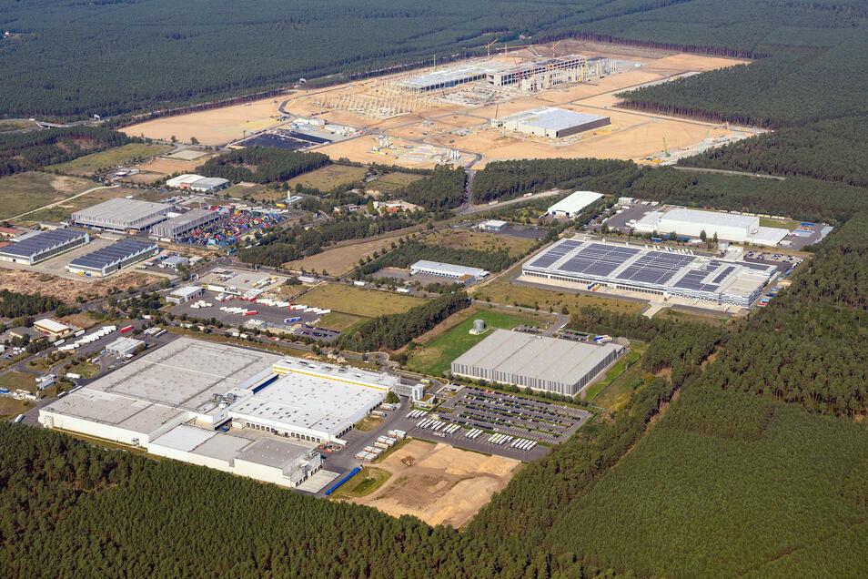 Luftaufnahme der künftigen Gigafactory Berlin-Brandenburg. Der US-Elektroautobauer Tesla will ab Sommer 2021 hier jährlich 500.000 Fahrzeuge herstellen.