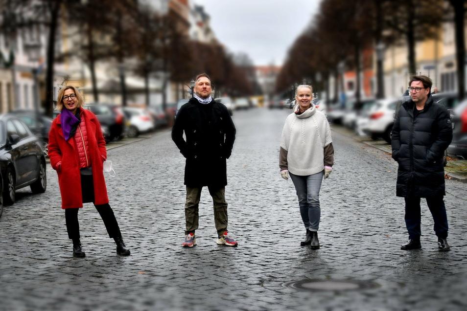 Katrin Leliveld, Sven Ehmann, Franziska Rüpprich und Heiko Liepack (v.l.) betreiben ihre Geschäfte im Dresdner Barockviertel mit Herzblut und Zuversicht. Aber ihre Lage ist extrem bedrohlich.
