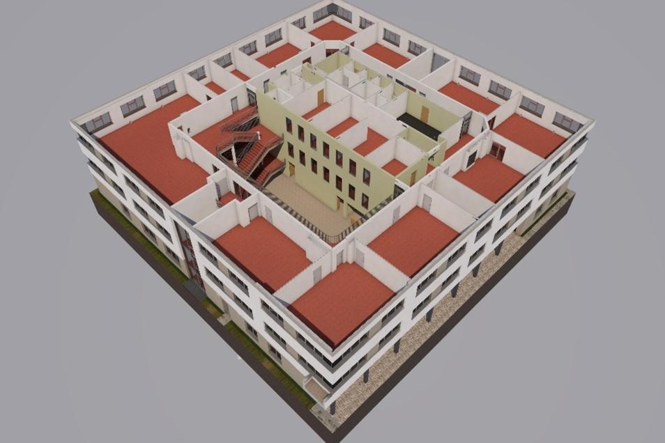 Schnittmodell der neuen Oberschule in Ullendorf – das Raumprogramm folgt modernen Anforderungen.