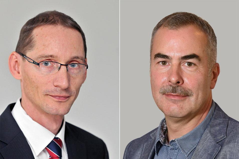 Axel Ilius (li.) war bis 2019 Leiter des Abwasserbetriebs und Jens Peter als OB sein Chef. Der Stadtrat ist mit ihrer Arbeit im Jahr 2016 überhaupt nicht zufrieden.